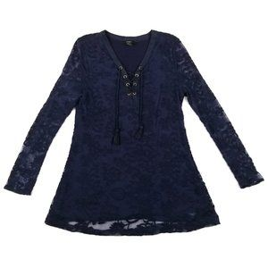 ✅Forever 21 Navy Blue Floral Velvet Lace Tunic Top